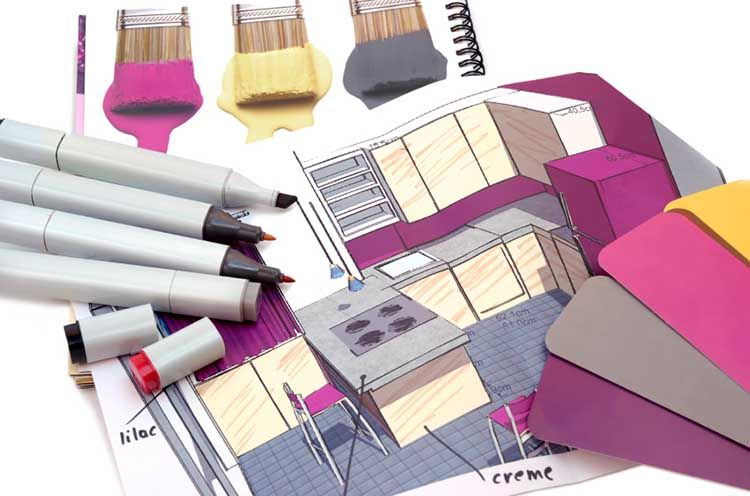 طراحی داخلی منزل با کاغذ رنگی